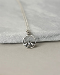 Rustic Sterling Silver Mountain Charm Necklace
