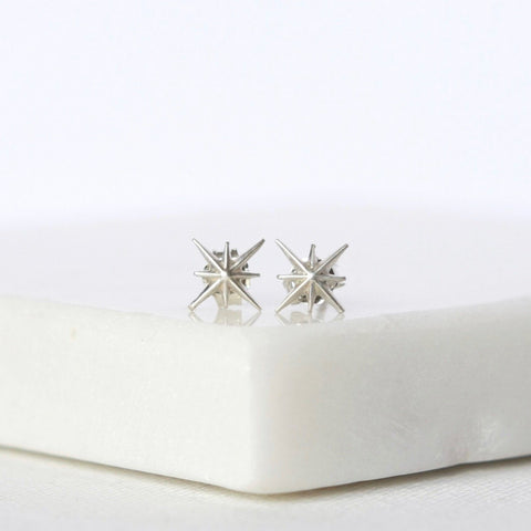 Tiny Sterling Silver North Star Stud Earrings