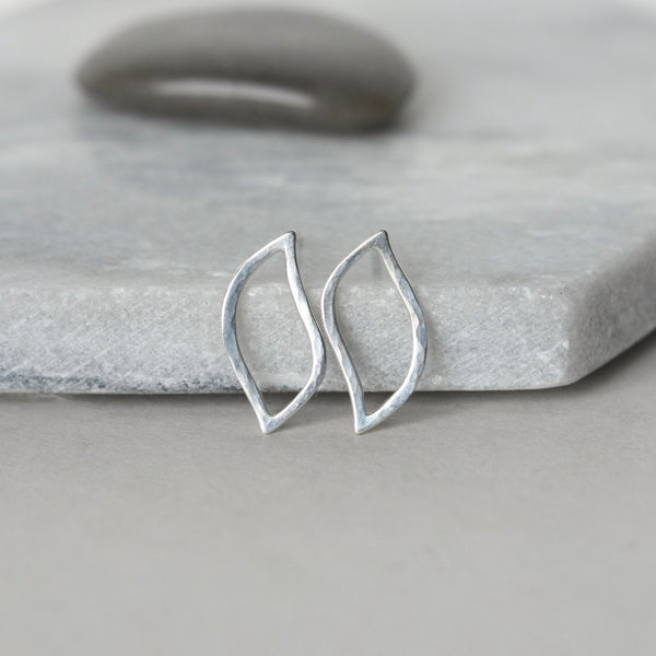 Dainty Sterling Silver Modern Leaf Stud Earrings