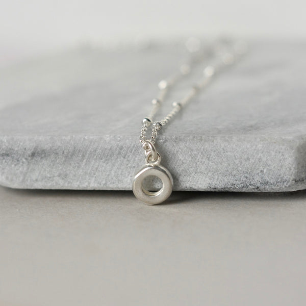 Sterling Silver Circle Charm Necklace