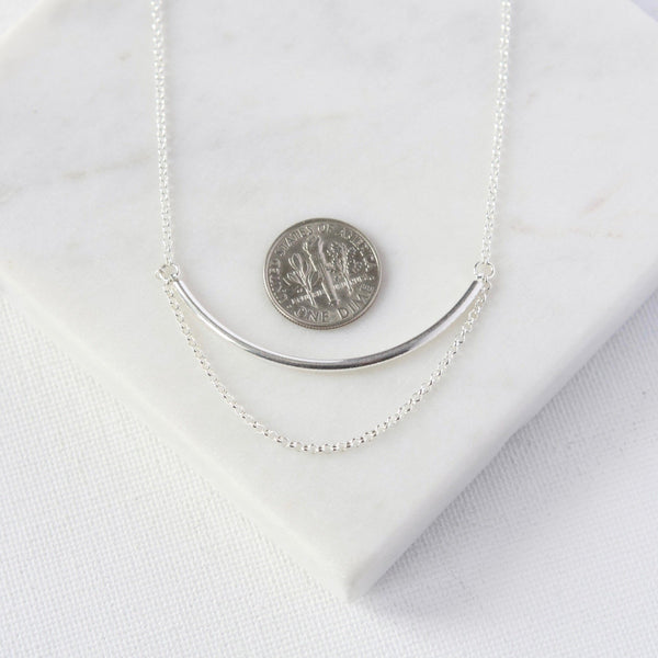 Sterling Silver Bar and Chain Necklace