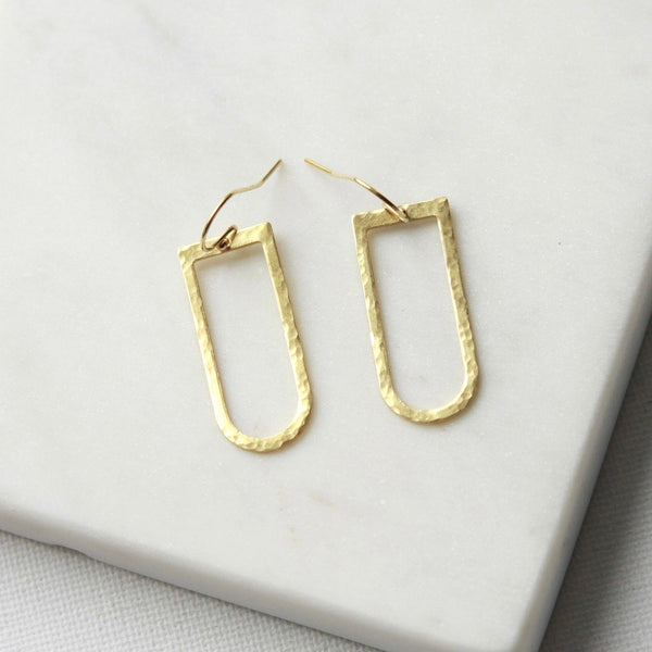 Modern Hammered Brass Earrings