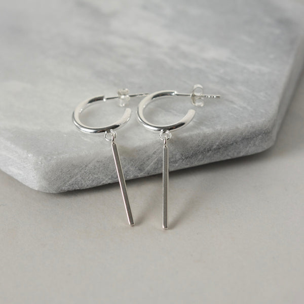 Sterling Silver Hoop and Bar Earrings