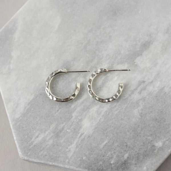 Small Sterling Silver Hammered Hoop Earrings