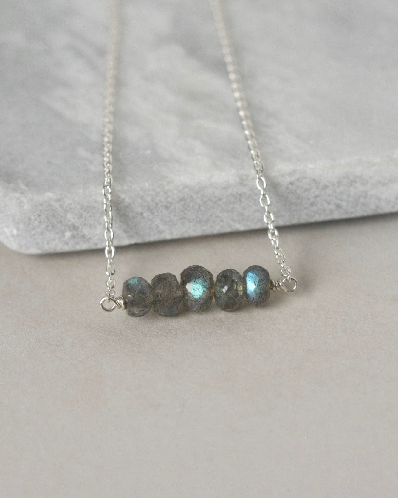 Faceted Labradorite Sterling Silver Necklace