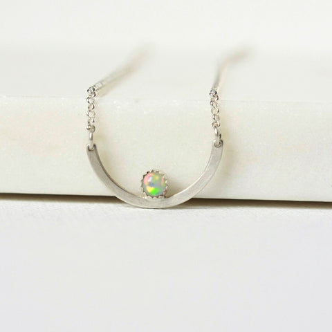 Sterling Silver and Ethiopian Welo Opal Necklace
