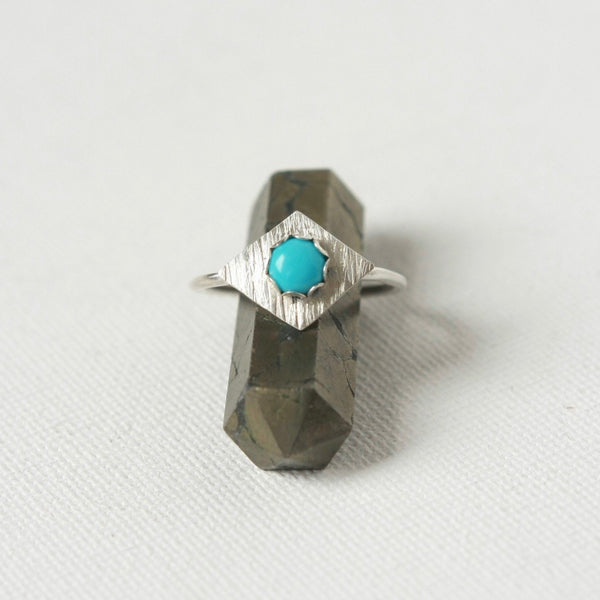 Sterling Silver Turquoise Geometric Ring