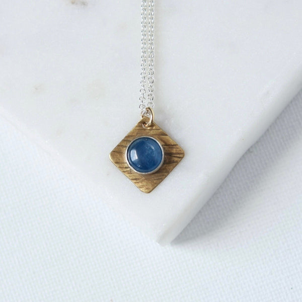 Sterling Silver and Brass Geometric Kyanite Necklace