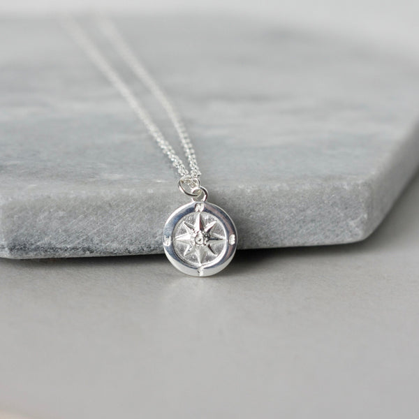 Sterling Silver Compass Coin Necklace