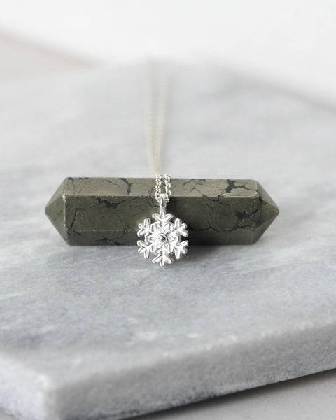 Dainty Sterling Silver Snowflake Necklace