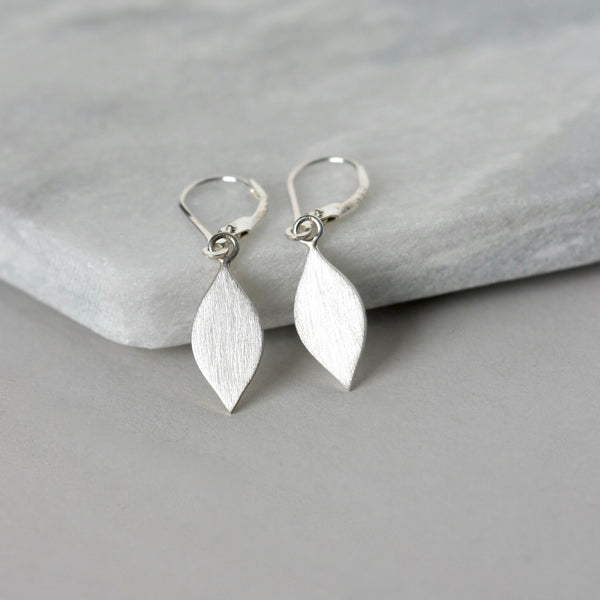 Brushed Sterling Silver Dangle Earrings