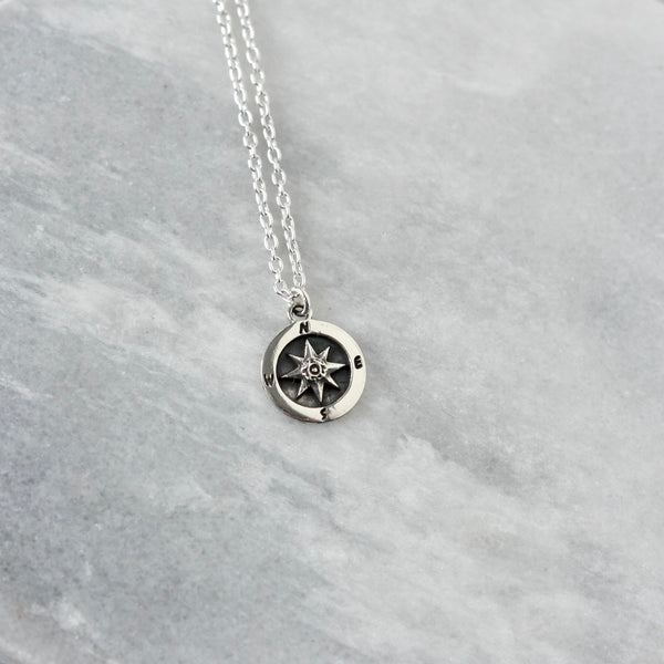 Oxidized Sterling Silver Compass Coin Necklace