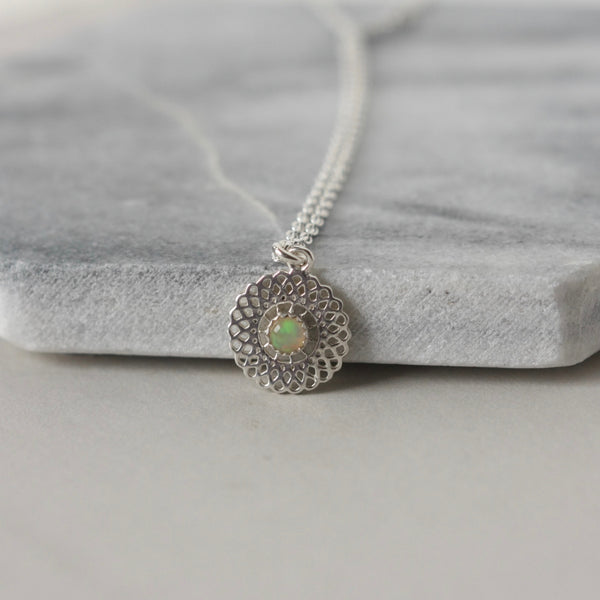 Sterling Silver Filigree Opal Necklace