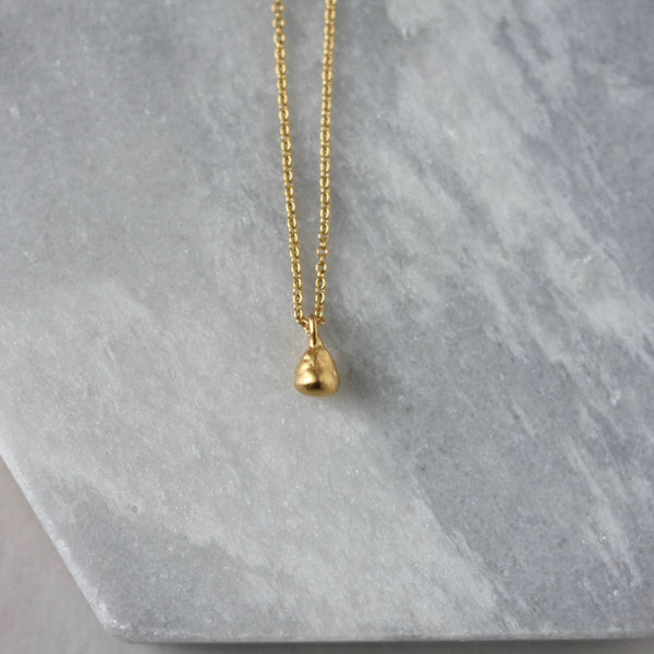 Tiny Gold Vermeil Nugget Teardrop Necklace
