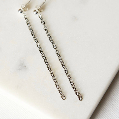 Long Sterling Silver Chain Earrings