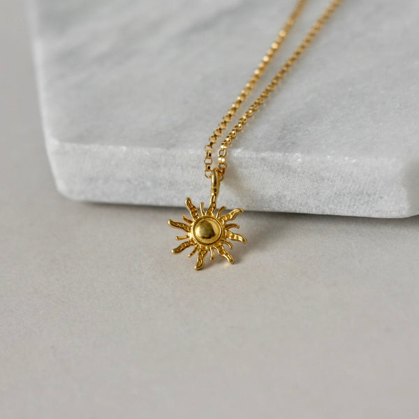 Gold Vermeil Sun Charm Necklace