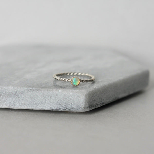 Sterling Silver Opal Stacking Ring