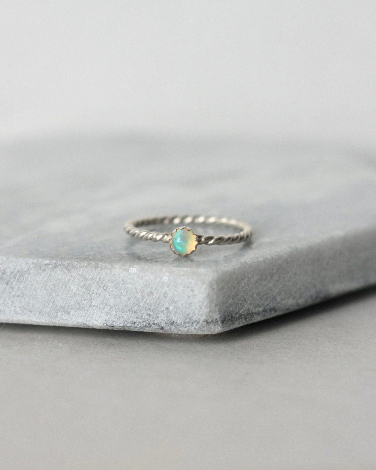Sterling Silver Ethiopian Welo Opal Stacking Ring