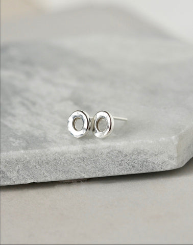 Small Hammered Sterling Silver Circle Studs