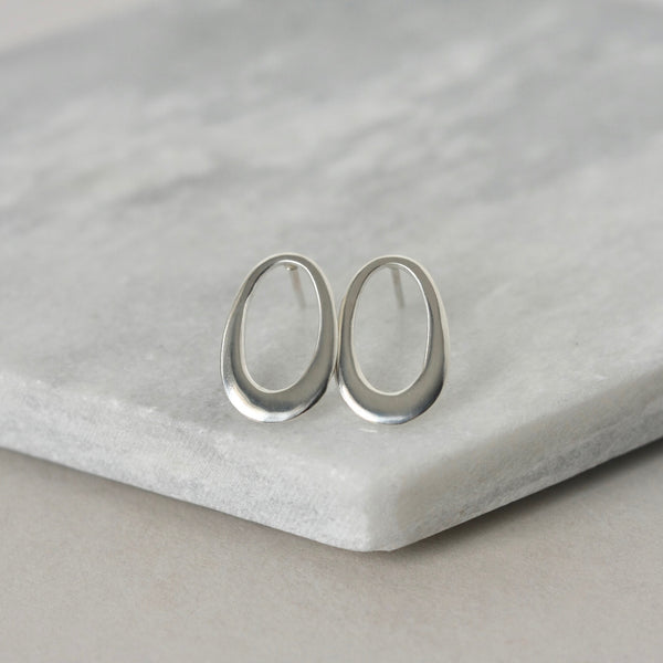 Sterling Silver Oval Geometric Stud Earrings