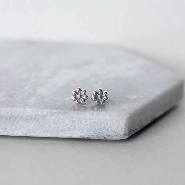 Tiny Sterling Silver Flower Stud Earrings