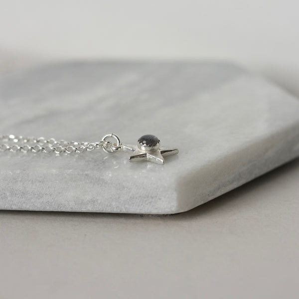 Sterling Silver Gemstone Star Necklace