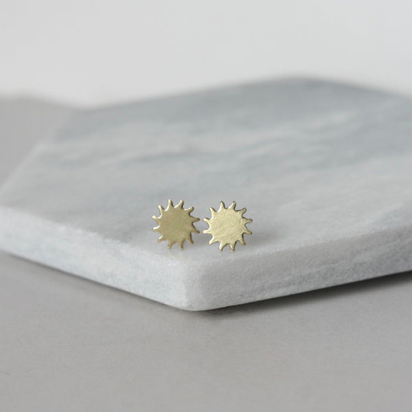 Brass Sunburst Stud Earrings