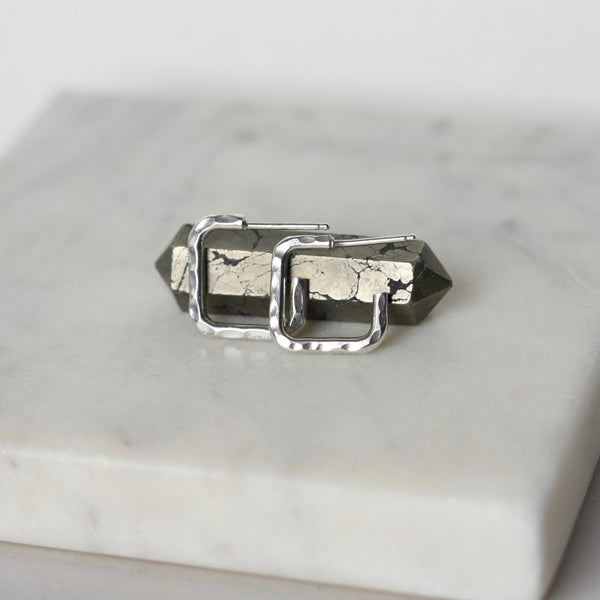 Hammered Sterling Silver Square Huggie Earrings