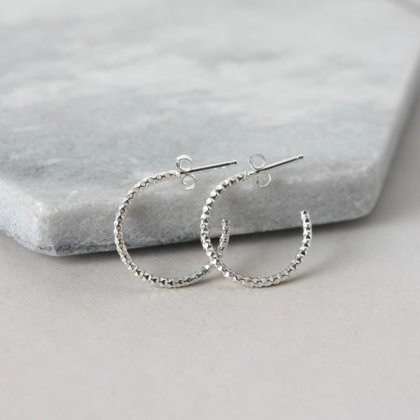 Sparkly Sterling Silver Hoop Earrings