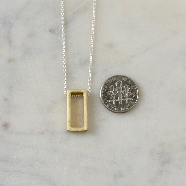 Brass Geometric Mixed Metal Rectangle Necklace