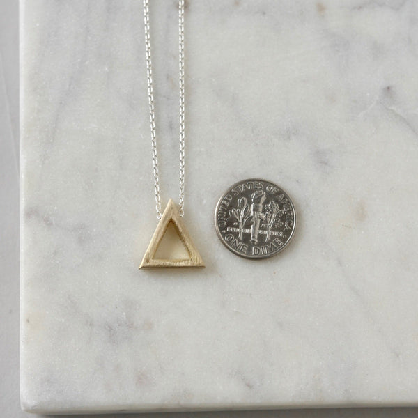 Brass Geometric Mixed Metal Triangle Necklace