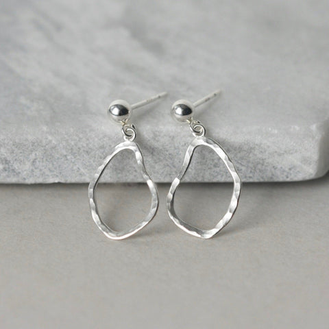 Irregular Sterling Silver Stud Dangle Earrings