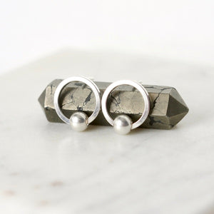 Small Geometric Sterling Silver Circle Studs