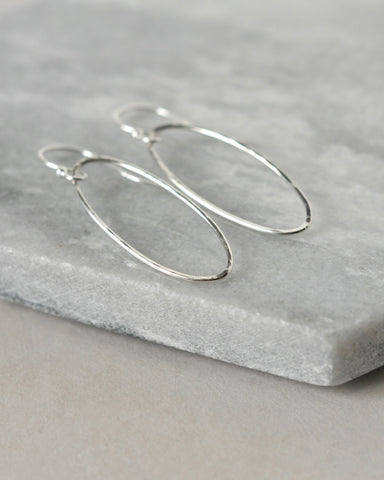 Hammered Sterling Silver Oval Dangle Earrings
