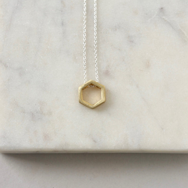 Mixed Metal Brass Geometric Necklace