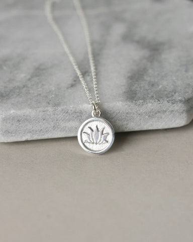 Sterling Silver Coin Floral Charm Necklace