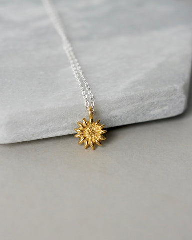 Minimalist Gold Vermeil Flower Charm Necklace
