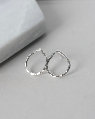 Hammered Sterling Silver Teardrop Stud Earrings