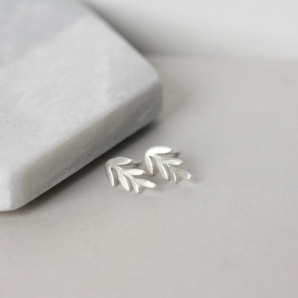 Small Sterling Silver Leaf Stud Earrings