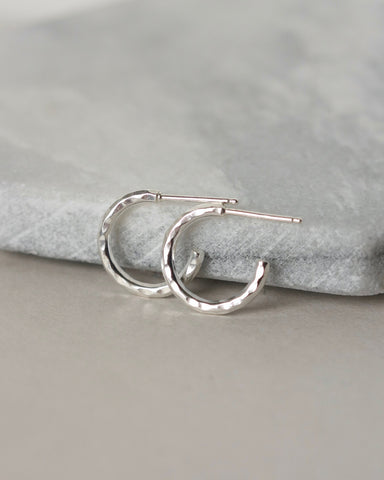 Small Hammered Sterling Silver Huggie Hoop Earrings
