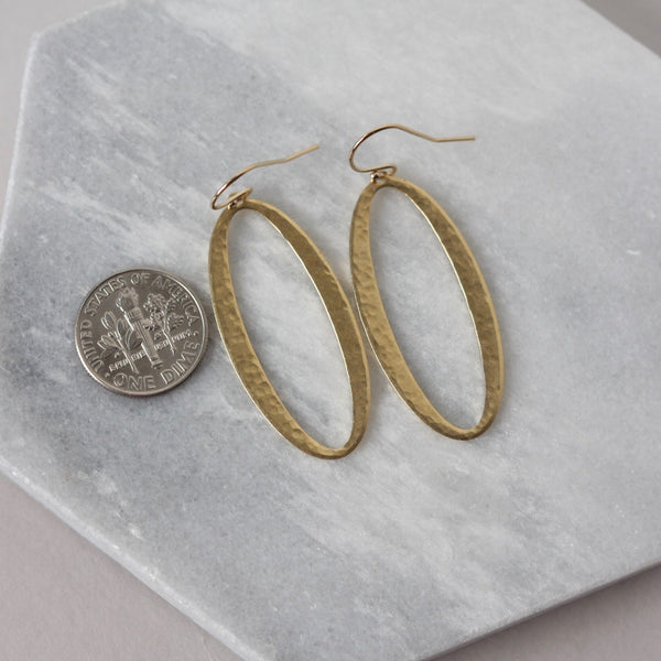 Big Hammered Brass Oval Earrings