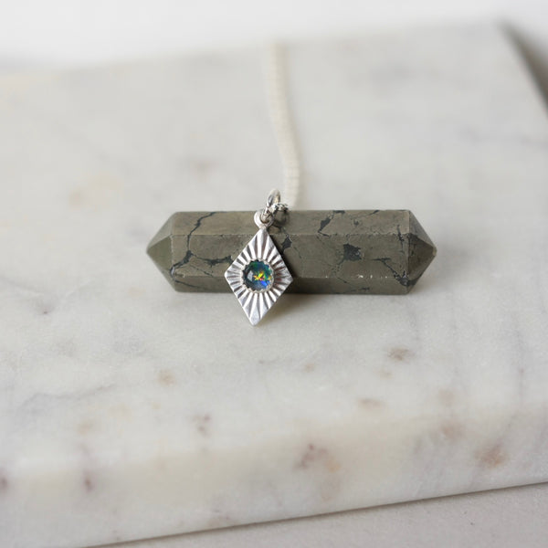 Australian Opal Geometric Charm Necklace