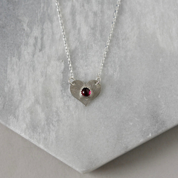 Sterling Silver Garnet Heart Necklace