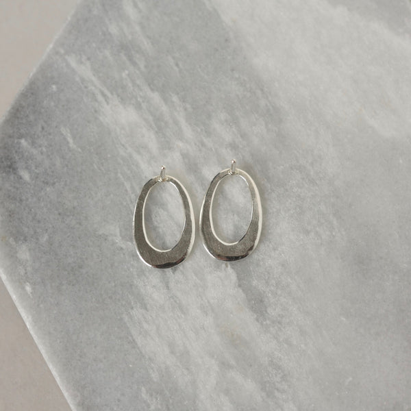 Hammered Sterling Silver Oval Stud Earrings