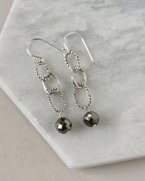 Rustic Sterling Silver Gemstone Chain Dangle Earrings