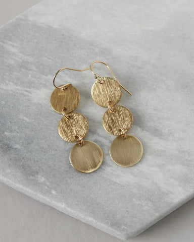 Shiny Brass Disc Statement Earrings