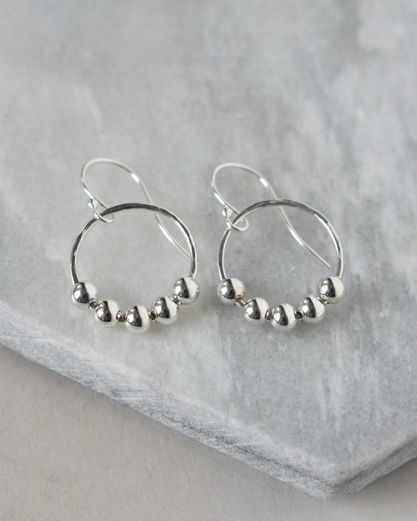Sterling Silver Bead Hoop Earrings