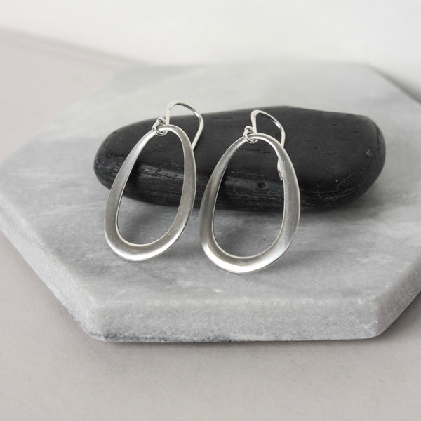 Big Sterling Silver Oval Dangle Earrings