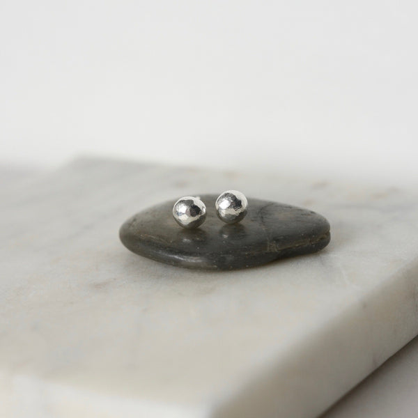 Sterling Silver Pebble Stud Earrings