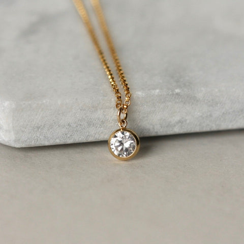 Dainty Gold Cubic Zirconia Charm Necklace